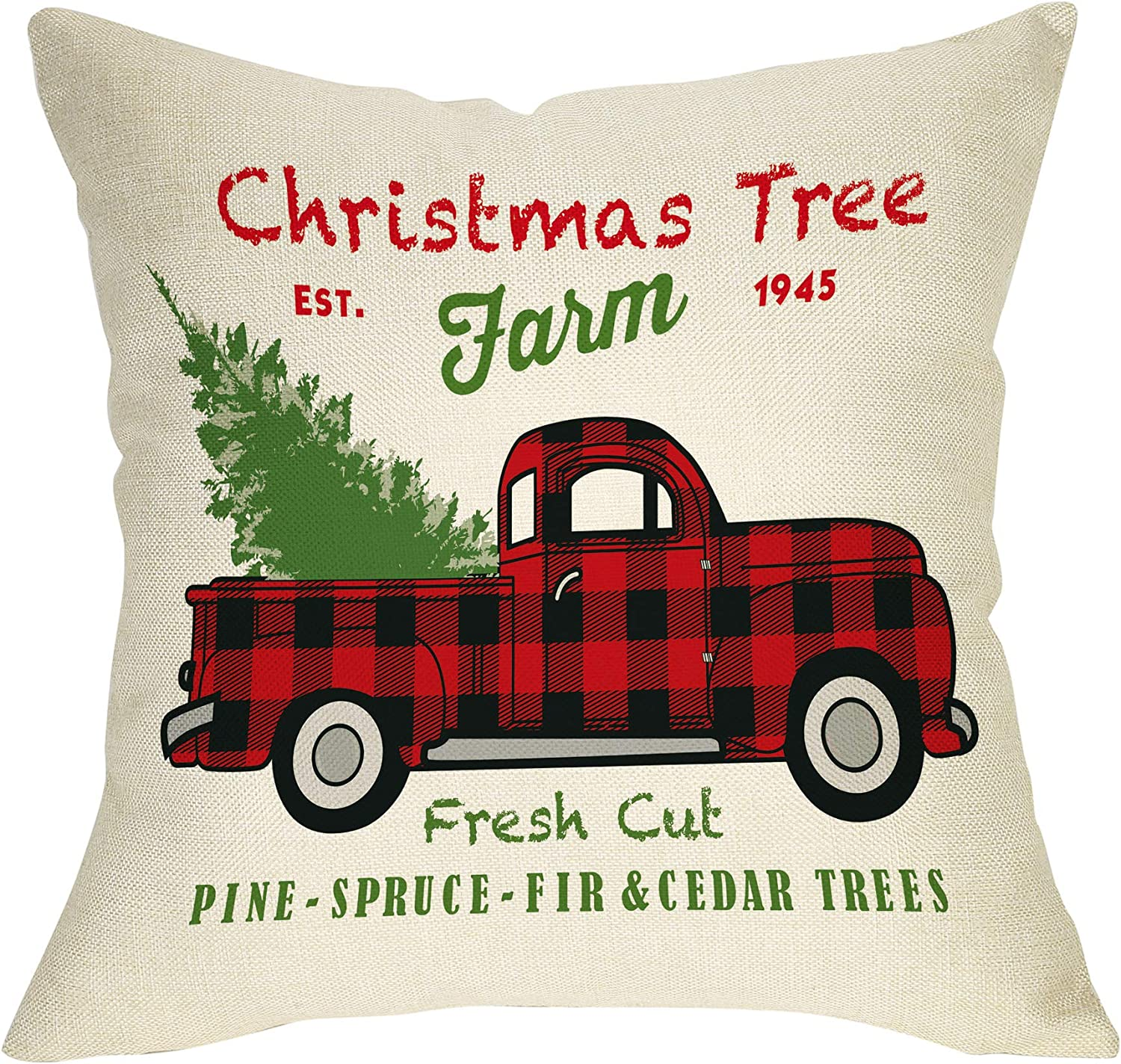 """Softxpp Christmas Farmhouse Decorative Throw Pillow Cover Vintage Red Buffalo Plaid Truck Winter Holiday Decoration Xmas Tree Farm Sign Home Decor Cushion Case for Sofa Couch 18"""" x 18"""" In Cotton Linen"""