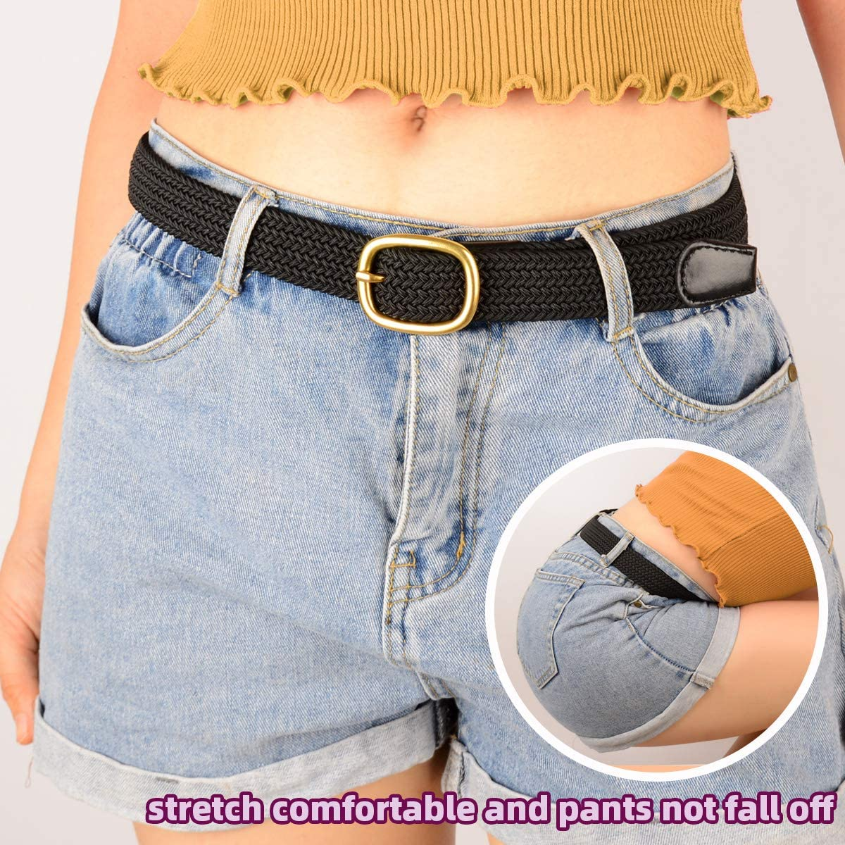 Drizzte Plus Size Belt 39 to 75inch Womens Woven Elastic Stretch Belts for Women Black