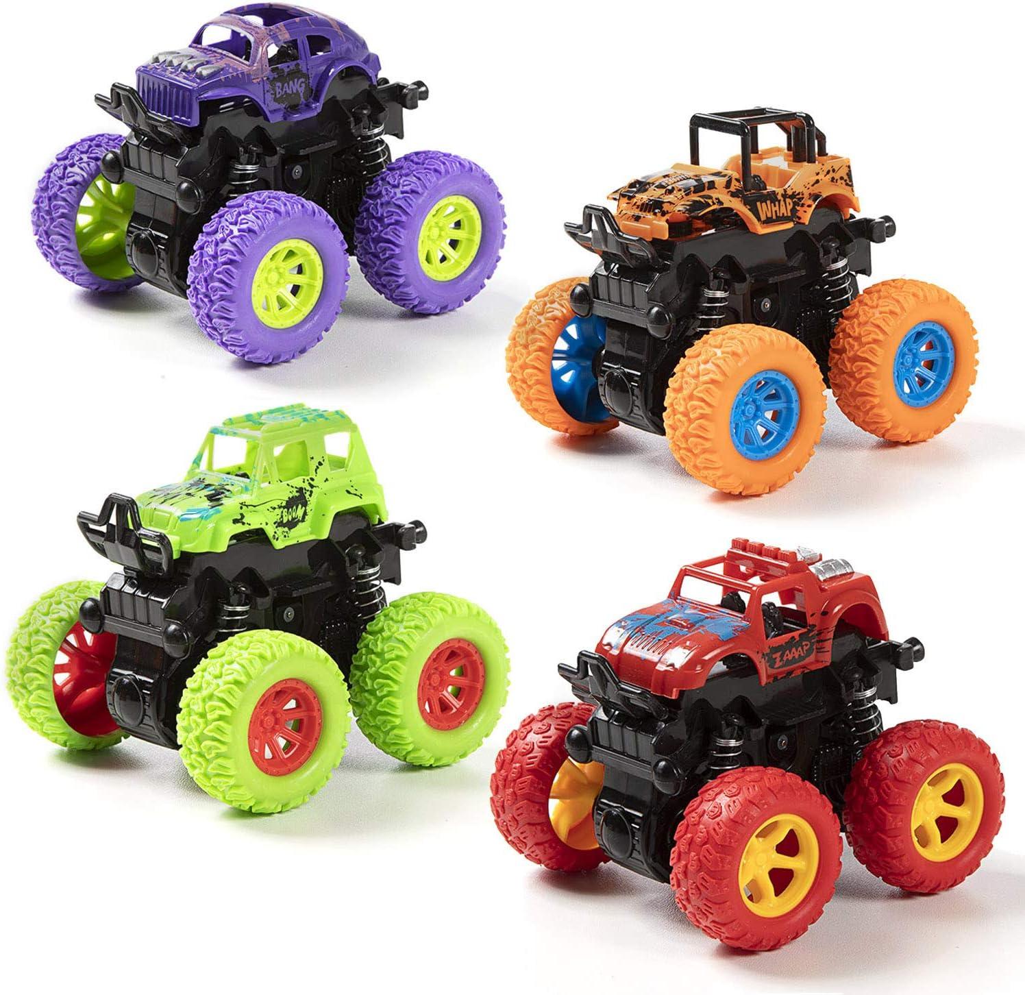 MOOKLIN ROAM 4 Paquetes Niños Camión Monstruo, Inercia Vehiculo Todoterreno Juguete, Autos de Carreras con Rotación de 360 Grados Coches de Juguetes Regalo para Boys Girls 3+ años