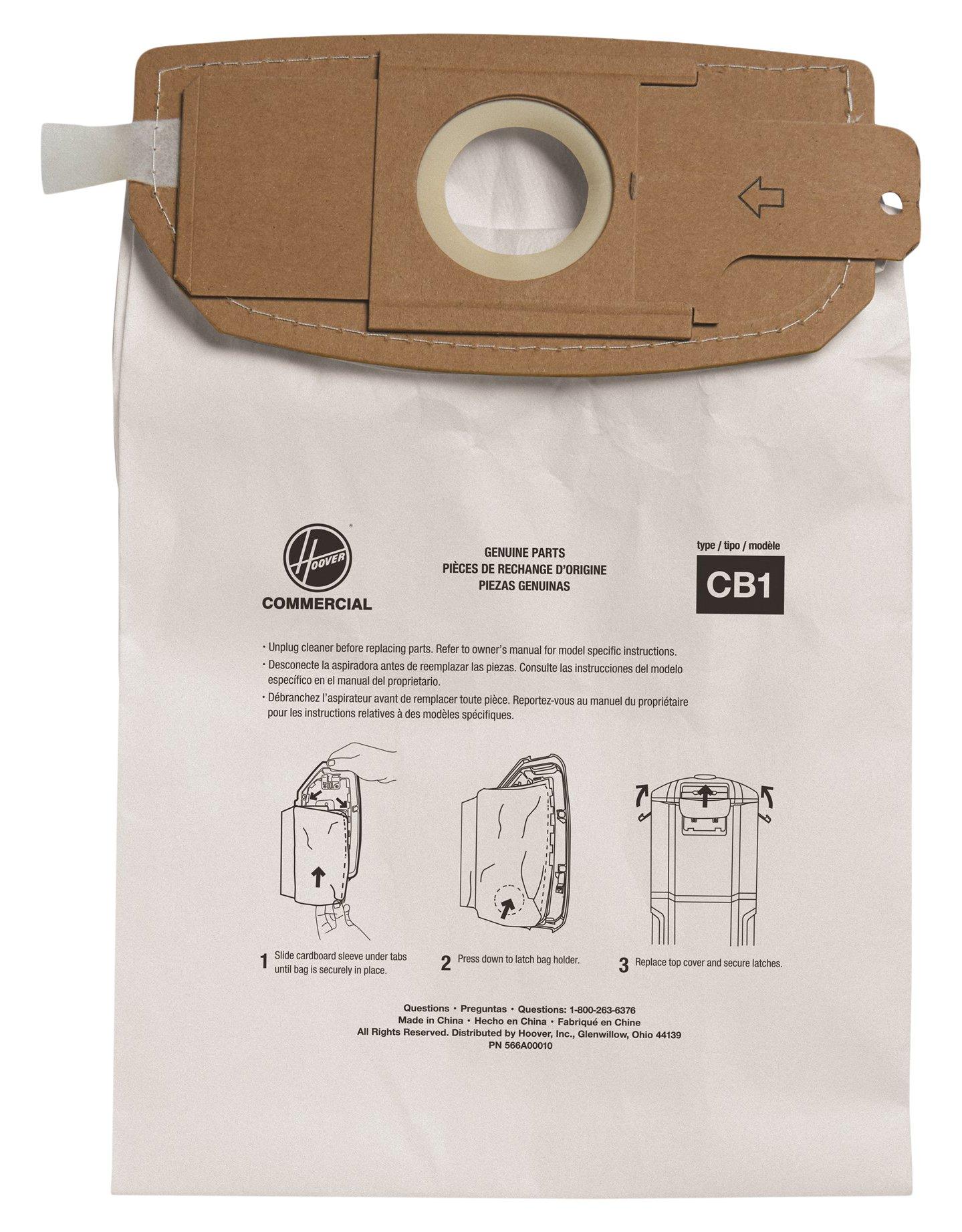 Hoover Commercial AH10173 HushTone Back Pack Bags, Standard Filtration (Pack of 10) by Hoover Commercial
