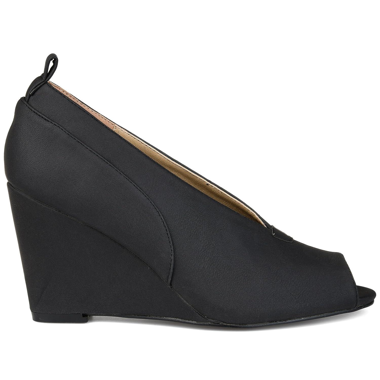 Brinley Co Womens Camden Faux Leather Peep-Toe Deep V-Cut Wedges B07572ZN3H 5.5 B(M) US|Black
