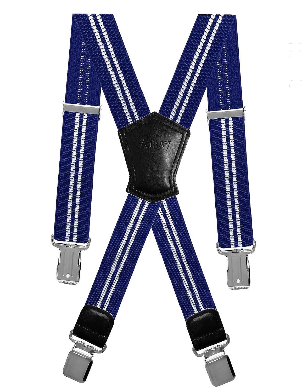 Aissy bretelle uomo Bretelle per pantaloni regolabili elastiche e regolabili in 4cm X con 4 robuste clip in metallo per uomo e donna