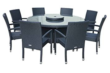 Rio 8 chaises de salle à manger avec table ronde Noir &vanille ...