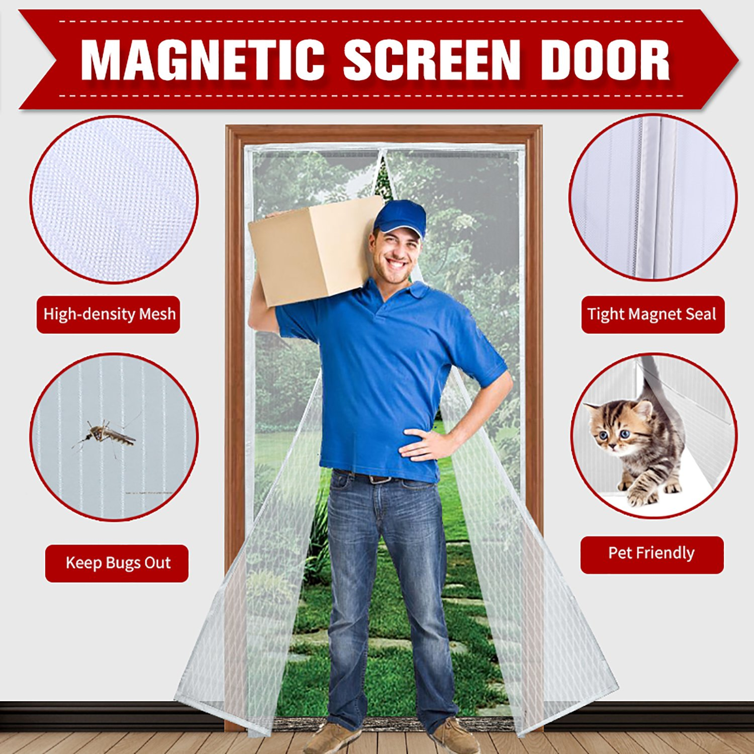"""Magnetic Screen Door 39""""x 83"""" with Heavy Duty Reinforced Mesh Curtain and Full Frame Velcro, Fits Door Size up to 36''X82'' Max- White"""