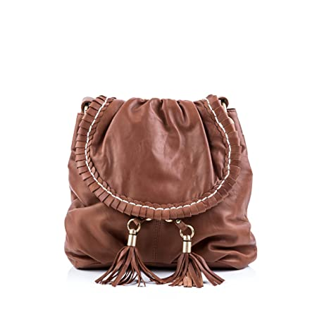 4403b014610d BACCINI real leather cross-body bag GISELE medium shoulder bag sling bag  leather bag women´s bag brown  Amazon.co.uk  Luggage
