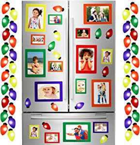 20 Pieces Christmas Magnetic Photo Frames in 4 x 6 Inches and 3 x 4 Inches with Christmas Bulb Shape Magnetic for Refrigerator, Locker, File Cabinet, Dishwasher, Magnetic Whiteboard Decor, 5 Colors