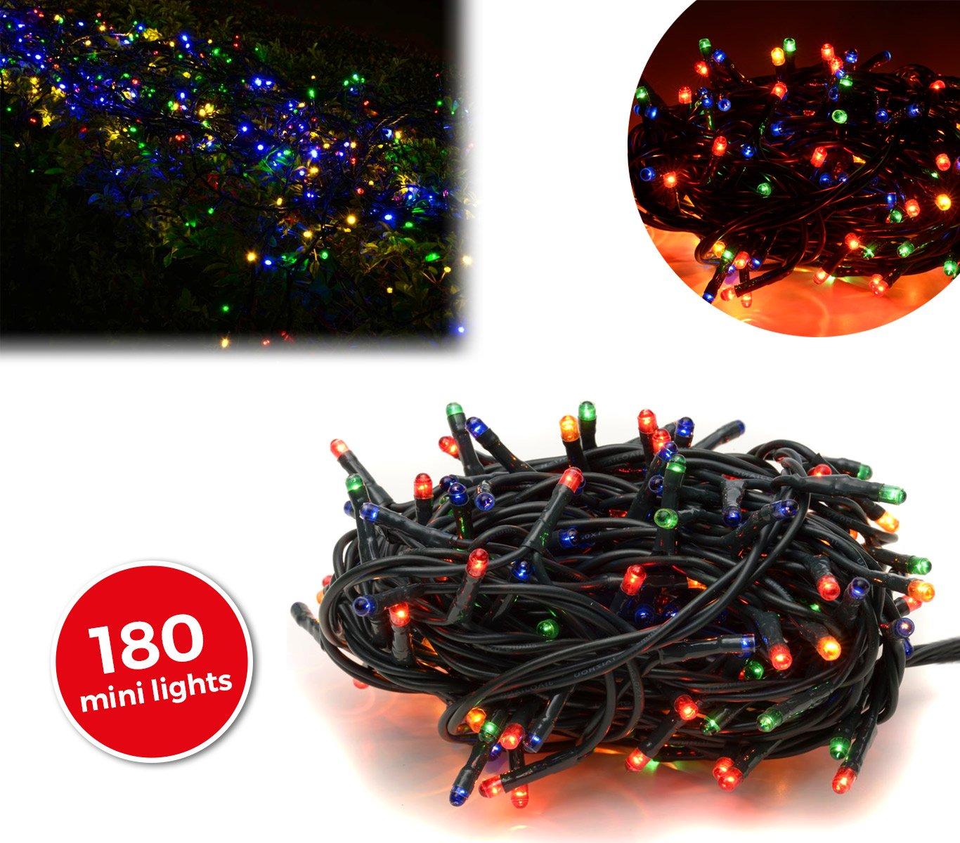 013492 Tira led de 180 guirnaldas efecto multicolor (cable verde) [Clase de eficiencia energética A+] MEDIA WAVE store ®