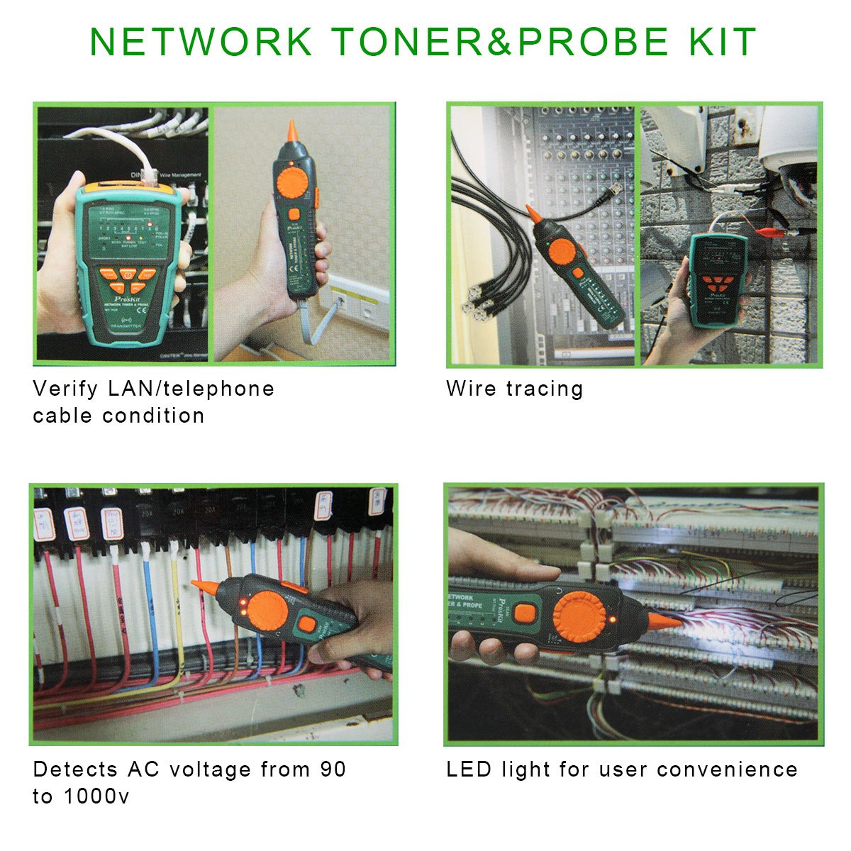 Proskit Mt 7028 Network Coaxial Cables Toner Generator Probe Kit Pyle Phct205 Cable Tester W Utp Ftp Bnc Short Circuit Wire Tracing Up To 3 Kilometer Industrial Scientific