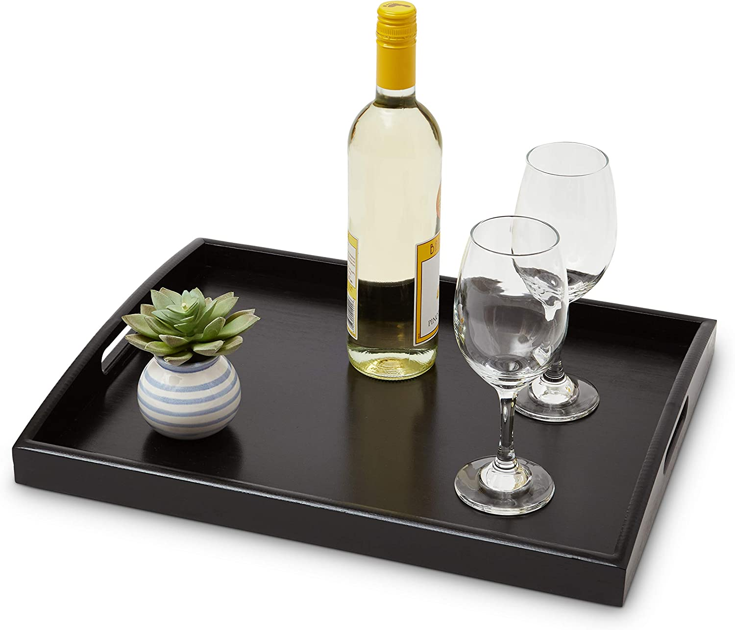 """ModernLuxy 18"""" x 14"""" Decorative Bamboo Serving Tray - Coffee Table Ottoman - Home Foodtrays - Large Food Platter - Decorative Tray - Kitchen Trays - Appetizer Server - Ottoman Tray - Breakfast Tray"""