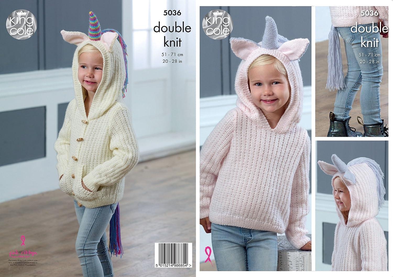 King Cole 5036 Knitting Pattern Girls Unicorn Sweater and Cardigan Hoodie in Comfort DK