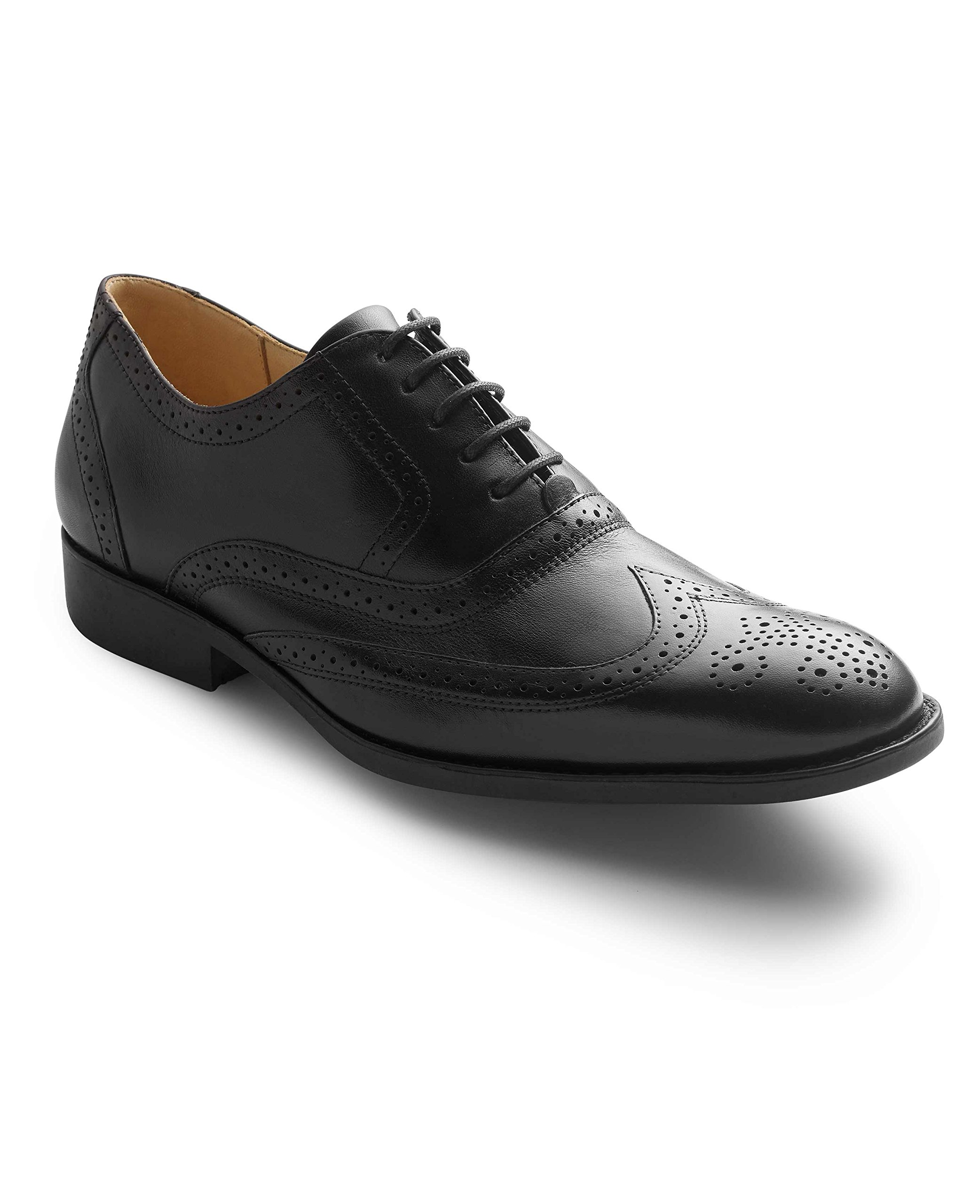 Savile Row Men's Black Leather Full Brogue Shoes 9