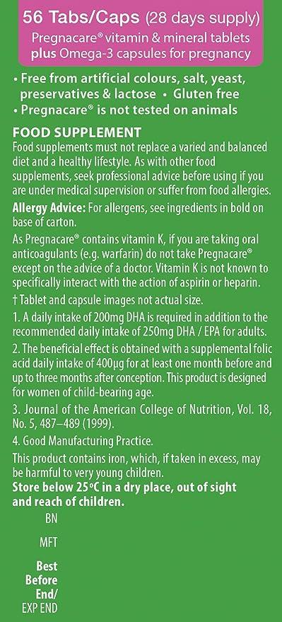 Vitabiotics Pregnacare Multivitaminas Plus Omega 3-56 comprimidos: Amazon.es: Salud y cuidado personal