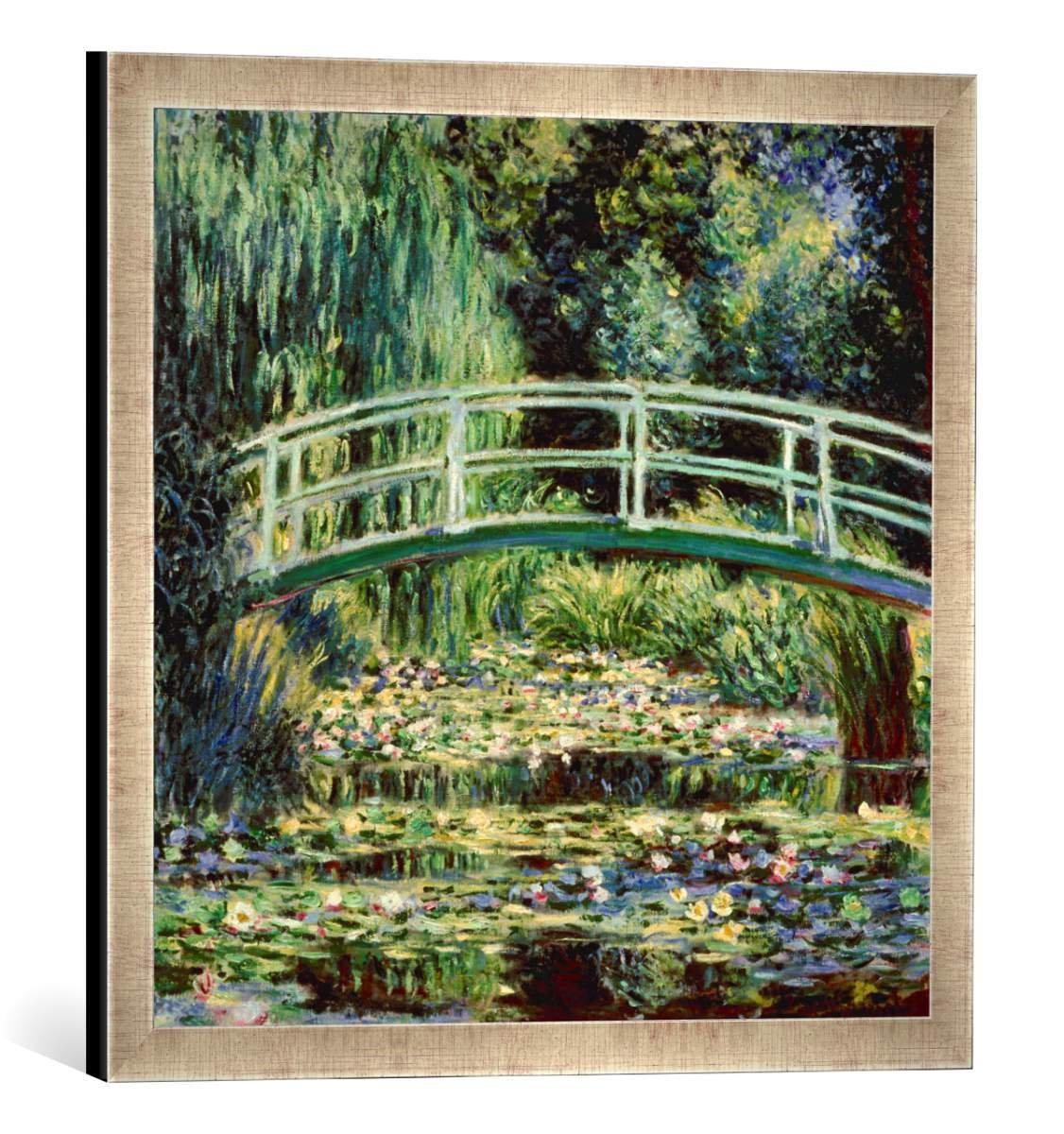 Gerahmtes Bild von Claude Monet Le Bassin aux Nymphéas, Kunstdruck im hochwertigen handgefertigten Bilder-Rahmen, 50x50 cm, Silber Raya