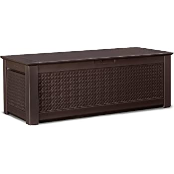 Rubbermaid Patio Chic Plastic Storage Trunk, Dark Teak Basket Weave,  18237305