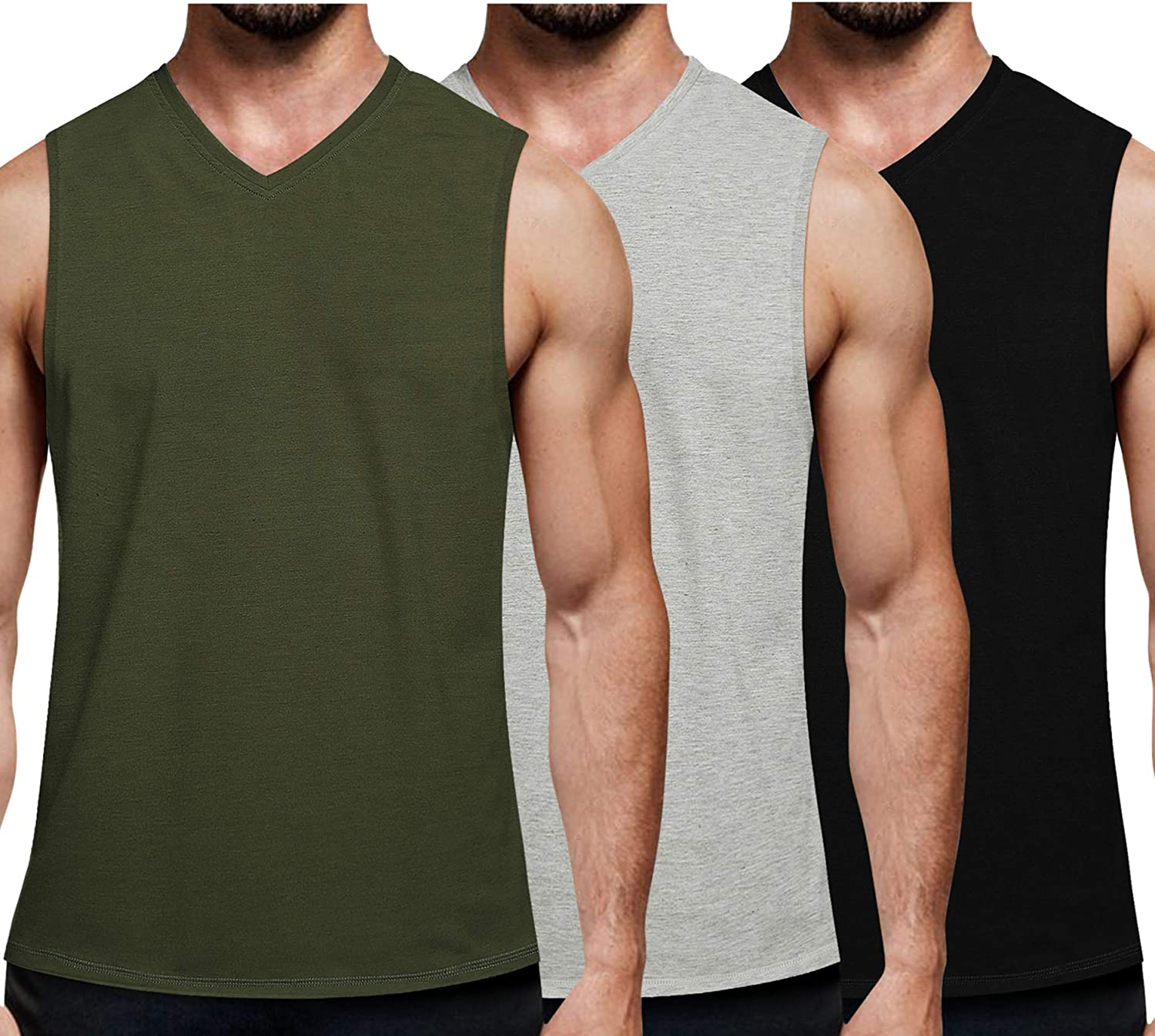 Coofandy Mens Vest Tops 3 Pack Tank Tops Workout Gym Shirts Muscle Tee Bodybuilding Fitness Sleeveless T Shirts
