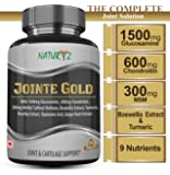 Naturyz Jointe Gold with 1500mg Glucosamine, 600mg Chondroitin, 300mg Methyl Sulfonyl Methane, Boswellia, Turmeric, Rosehip, Hyaluronic Acid and Ginger Root for Joint & Cartilage Support - 60 Tablets