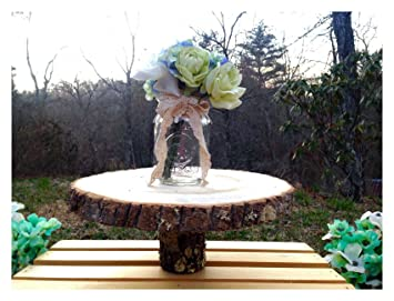 Amazon Com Rustic Wood Tree Slice Wedding Cake Stand Platter Log