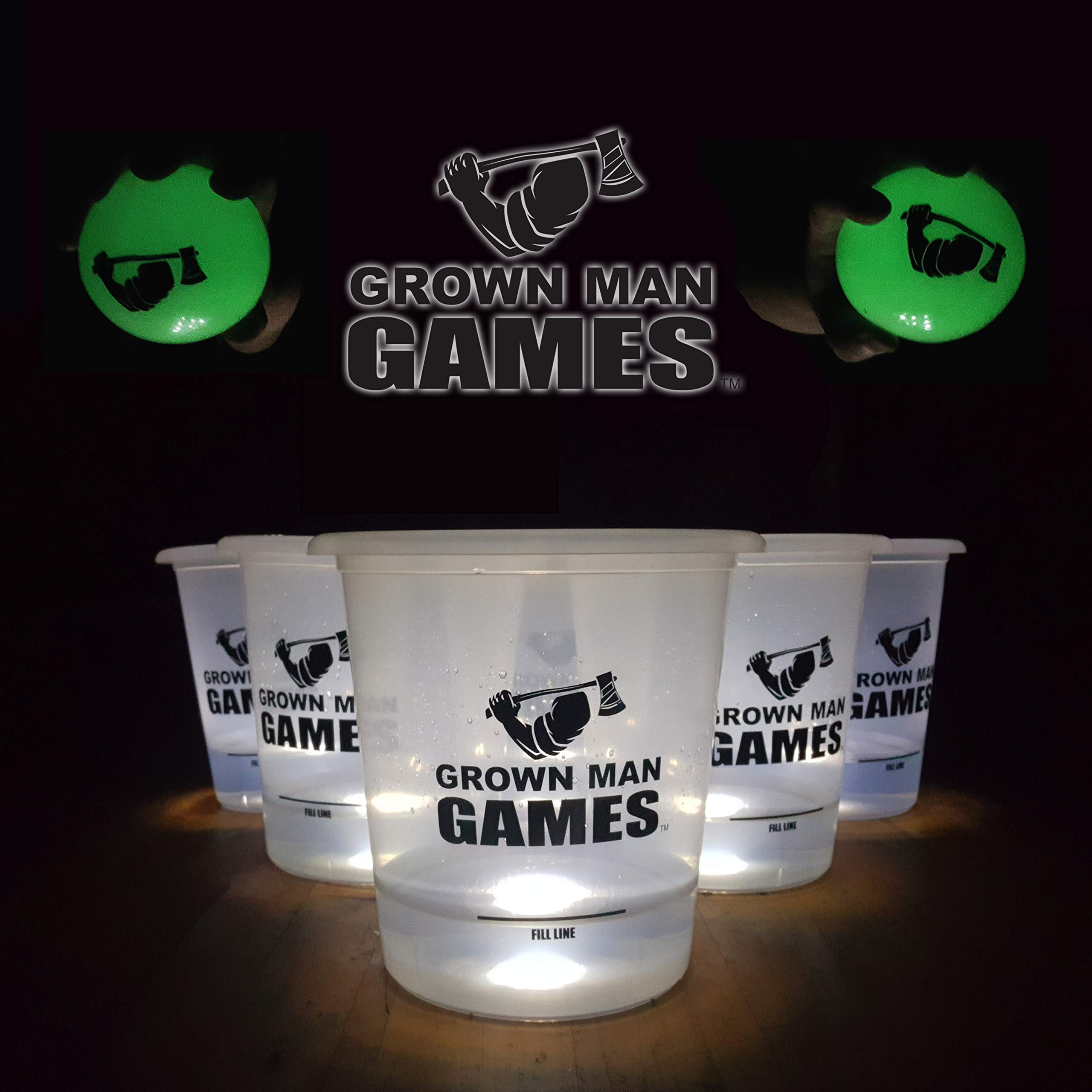Grown Man Games Glow in The Dark Yard Pong - Giant Beer Pong Drinking Game/Yard Game - Outdoor Games for Kids and Adults - Bucket Pong Beach Game