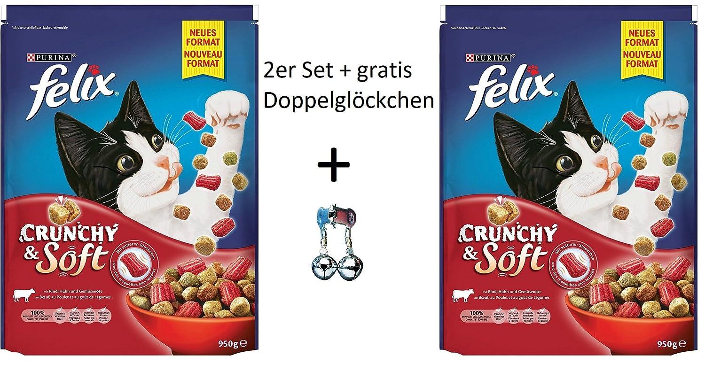 Set: Felix Croquettes Chat Crunchy & Soft avec boeuf, poulet et légumes ajout 2x 950g + Gratuit grelots Purina
