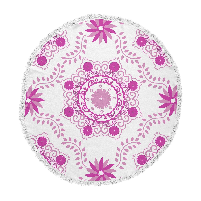 KESS InHouse Anneline Sophia Let's Dance Fuschia Pink Floral Round Beach Towel Blanket