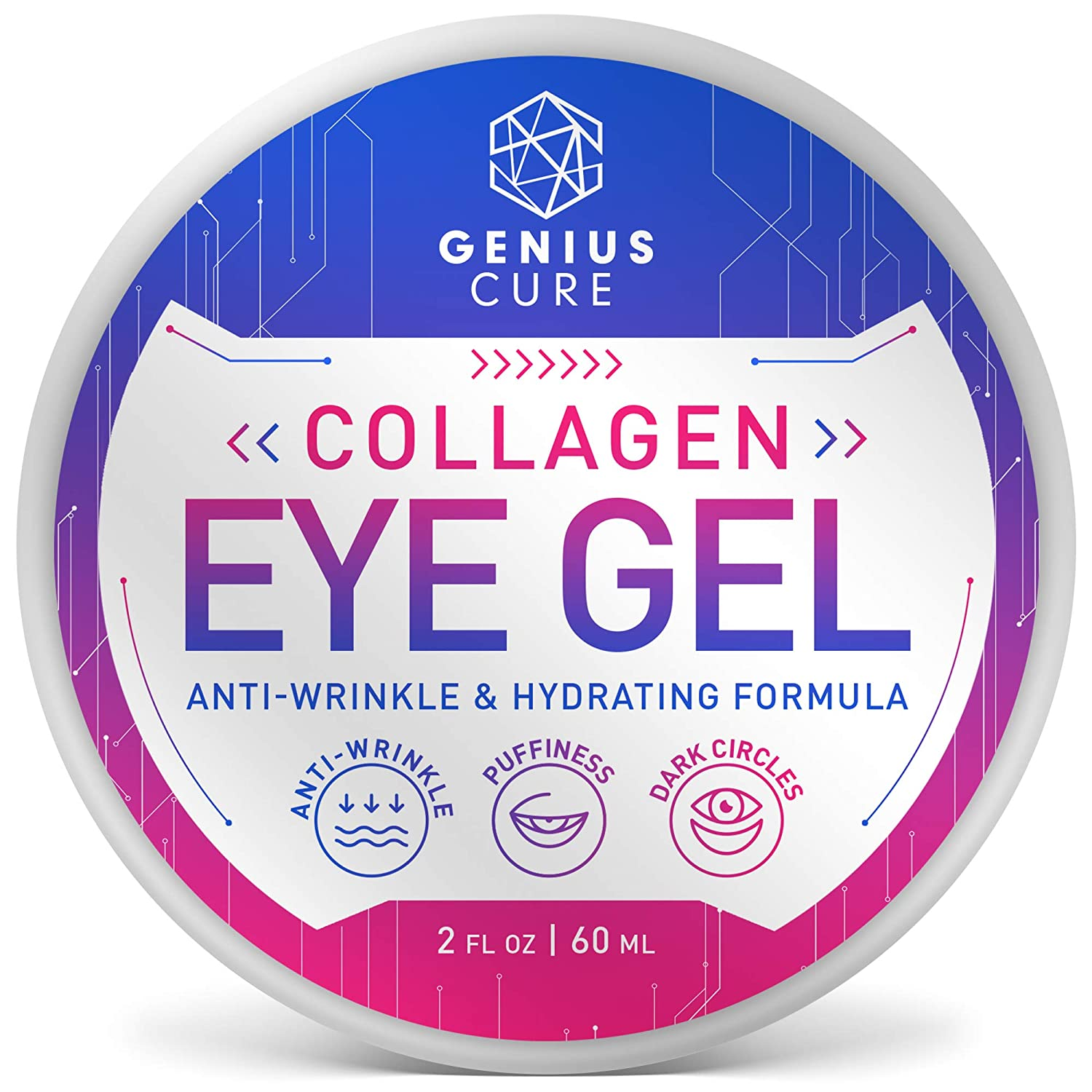 Collagen Eye Gel, Under Eye Gel Treatment for Reducing Dark Circles, Moisturizing, Targets Wrinkles Anti-Aging, Fine Lines, Eye Bags, Puffiness for Women Men 2oz: Beauty