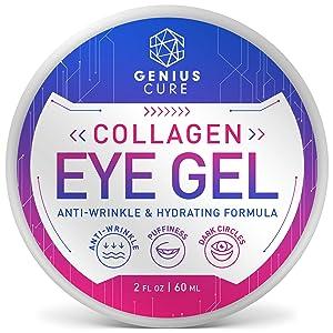 Collagen Eye Gel, Under Eye Gel Treatment for Reducing Dark Circles, Moisturizing, Targets Wrinkles Anti-Aging, Fine Lines, Eye Bags, Puffiness for Women Men 2oz