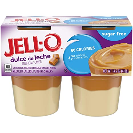 Amazon.com : Jell-O Ready to Eat Sugar-Free Dulce de Leche Pudding Snack, 4 Cups : Grocery & Gourmet Food