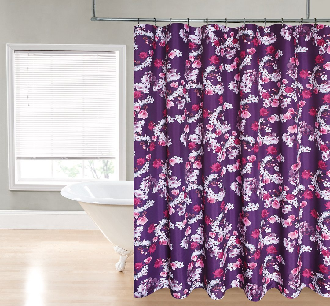 Regal Home Collections Blooming Buds Print 70-Inch Wide X72-Inch Long Fabric Shower Curtain/_Purple Citron