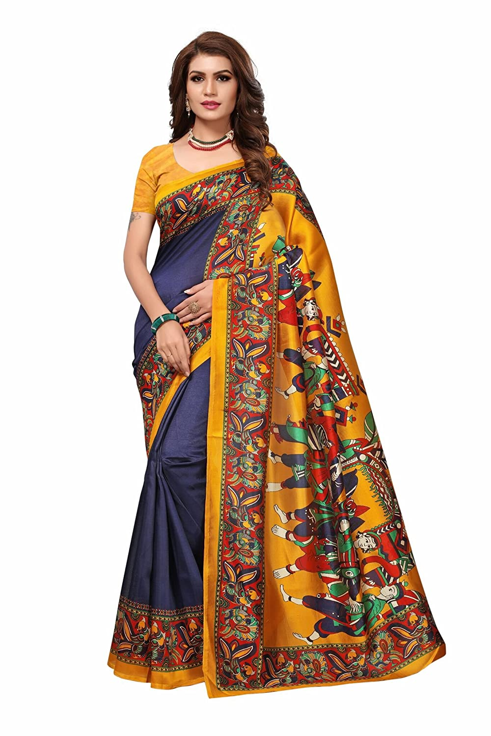 Shonaya Women`S Blue & Yellow Colour Art Silk Printed Saree SHRADHA-NAVY