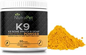 K9 Bone Broth Powder Concentrate Organic Turmeric Hemp Protein – Improves Gut Health, Allergies, Food Sensitivity & Inflammation Hip & Joint Arthritis Pain Relief – Digestive & Mobility