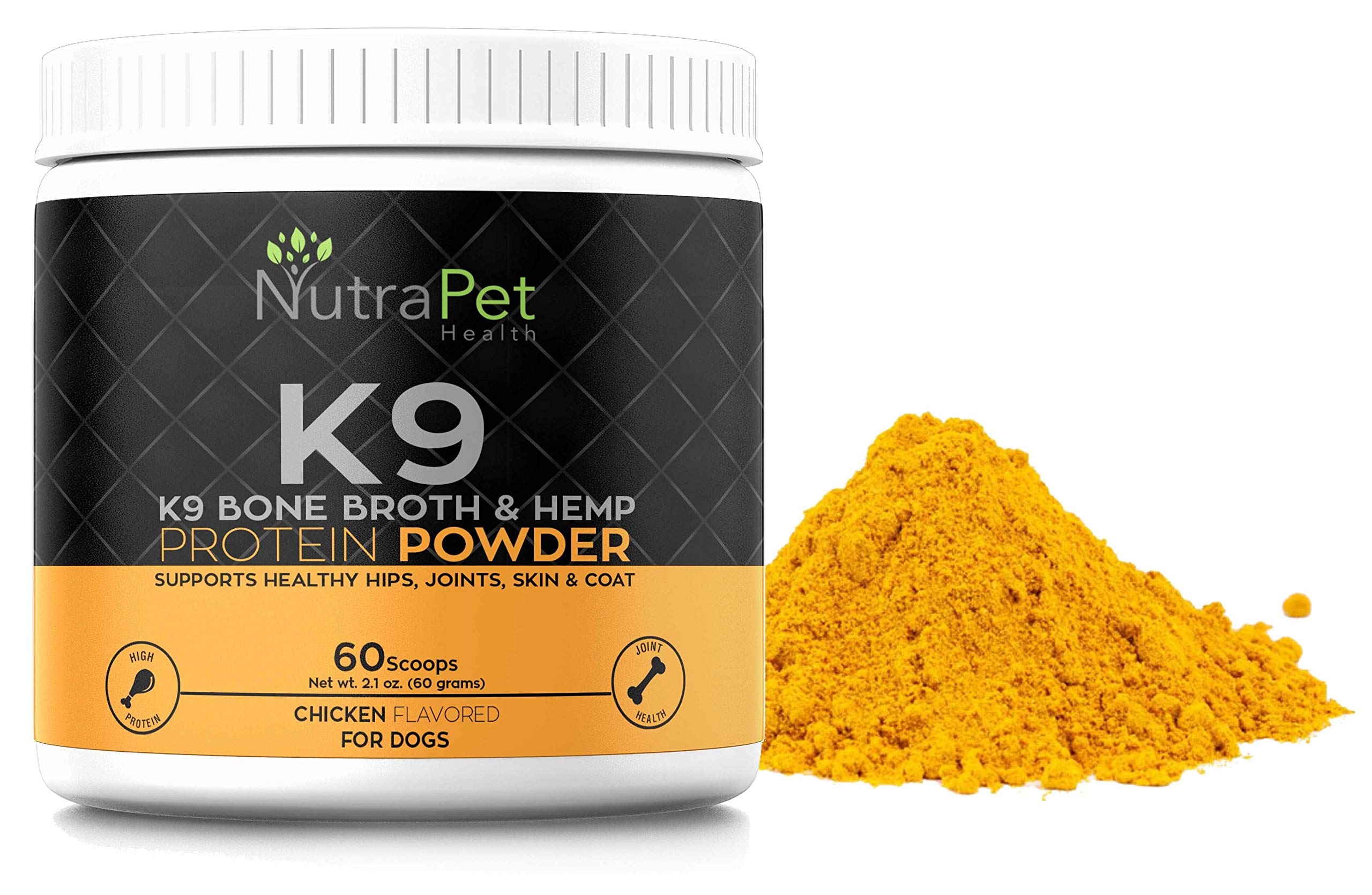 K9 Bone Broth Powder Concentrate Organic Turmeric Hemp Protein - Improves Gut Health, Allergies, Food Sensitivity & Inflammation Hip & Joint Arthritis Pain Relief - Digestive & Mobility