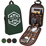 13 PC Grilling and Camping Cooking Set for The Outdoors BBQ - Stainless Steel Camp Kitchen Equipment Cookware Grill Tool…