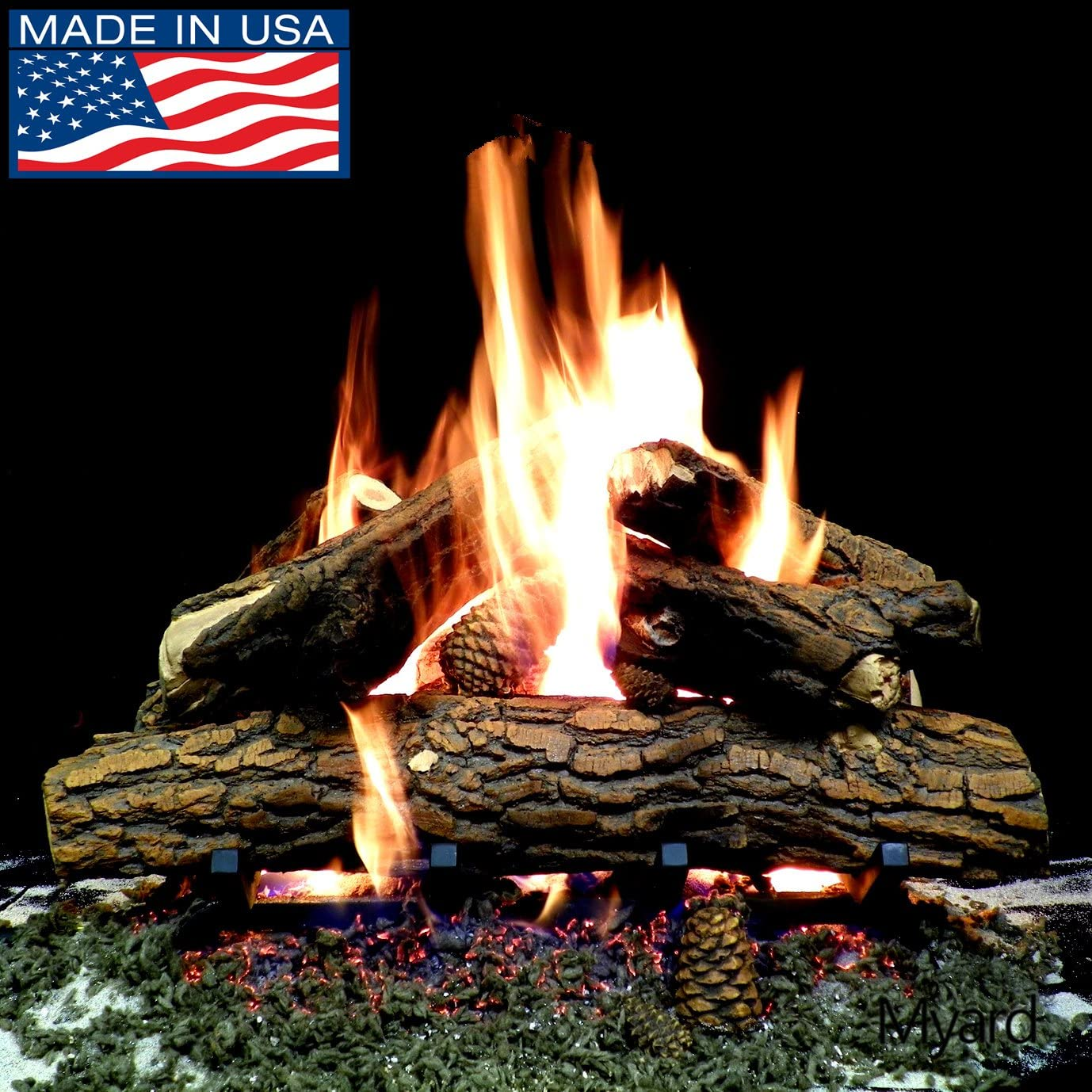 PayandPack Myard Deluxe 24 inches Country Oak Deluxe Fire Gas Logs LOGS ONLY for Natural Gas Liquid Propane Vented Fireplace