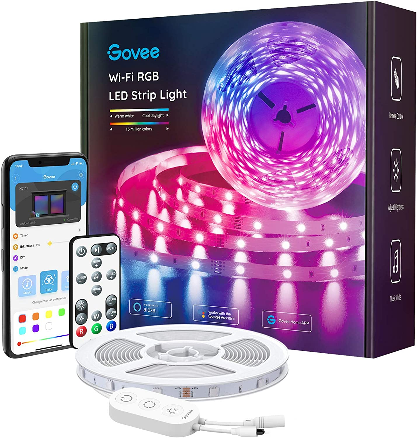 Govee Alexa LED Strip Lights, 16.4ft Smart Wi-Fi LED Light Strip with APP and Remote Control, Upgraded Music Sync Color Changing RGB Strip Lights for Room, Kitchen, TV, Party