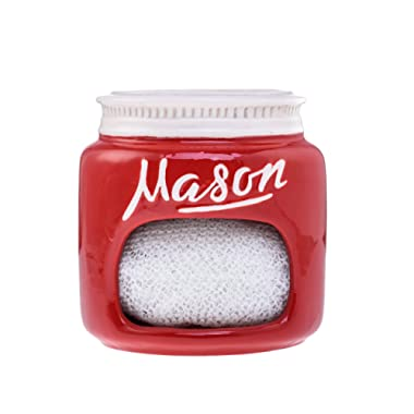 Red Ceramic Mason Jar Kitchen Sponge Holder – Adorable Home Retro and Farmhouse Kitchen Decor - Amazing Rustic Accessory - Vintage Gift for Friends, Family and Collectors by Goodscious
