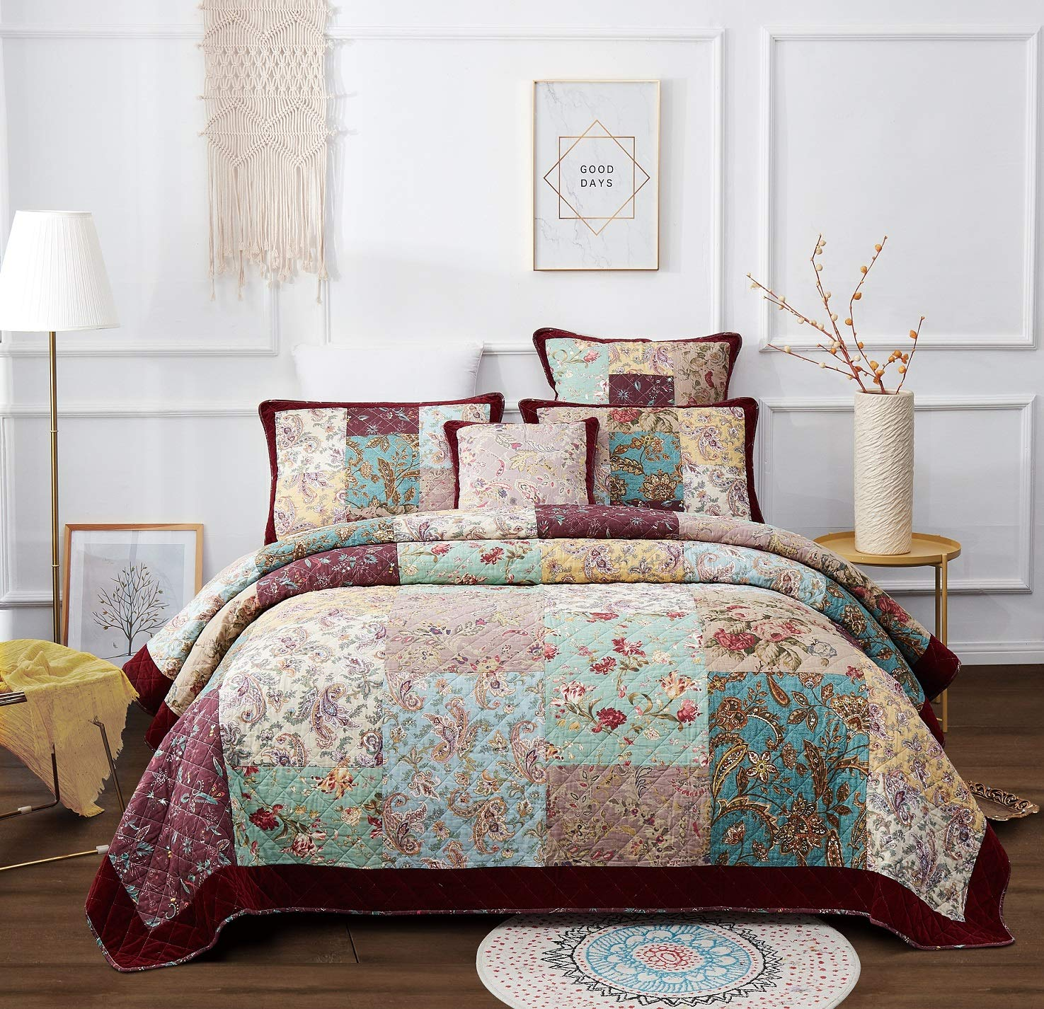 DaDa Bedding Bohemian Patchwork Bedspread - Burgundy Wine Velvety Trim - Vintage Floral Roses Paisley - Bright Vibrant Multi-Colorful Quilted Set - Queen - 3-Pieces