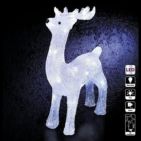 6801b4ed3bb DECORACION DE NAVIDAD - RENO luminoso - efecto escarcha - 40 bonbillas LED  Blancas