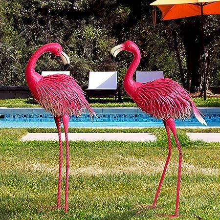 Regalos de boda creativo decoraciones del jardín del hierro Artesanía Flamenco Patio Parque centro comercial al aire libre de la novedad Landscaping escultura estatuas Decoración del Patio de césped: Amazon.es: Hogar