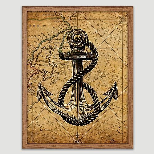 Amazon.com Anchor on Atlantic Ocean Map Poster Nautical Art