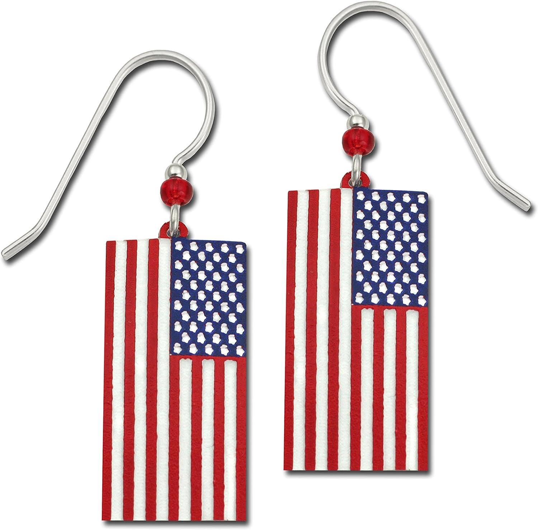 Sienna cielo patriótico bandera de Estados Unidos hecho a mano pendientes con caja de regalo hecho en EE. UU. Elige tu estilo: Amazon.es: Joyería