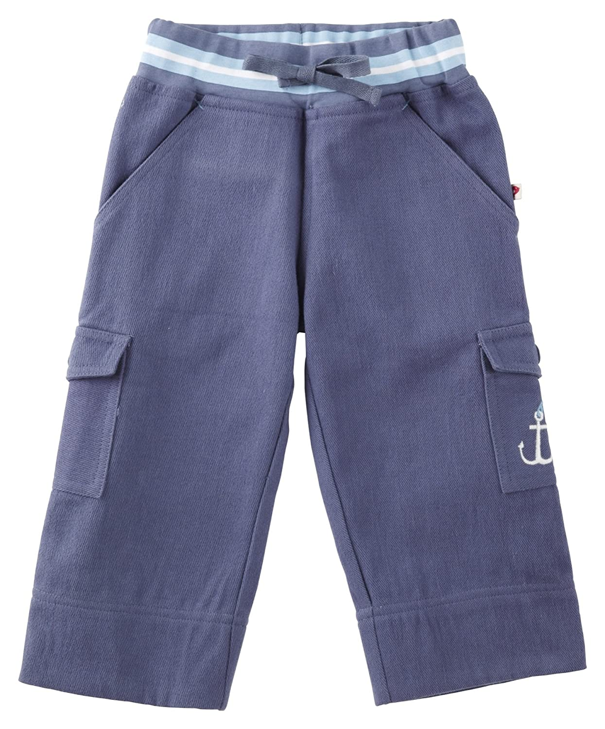 Piccalilly Organic Cotton Blue Boys Rib Waist Baby Trousers