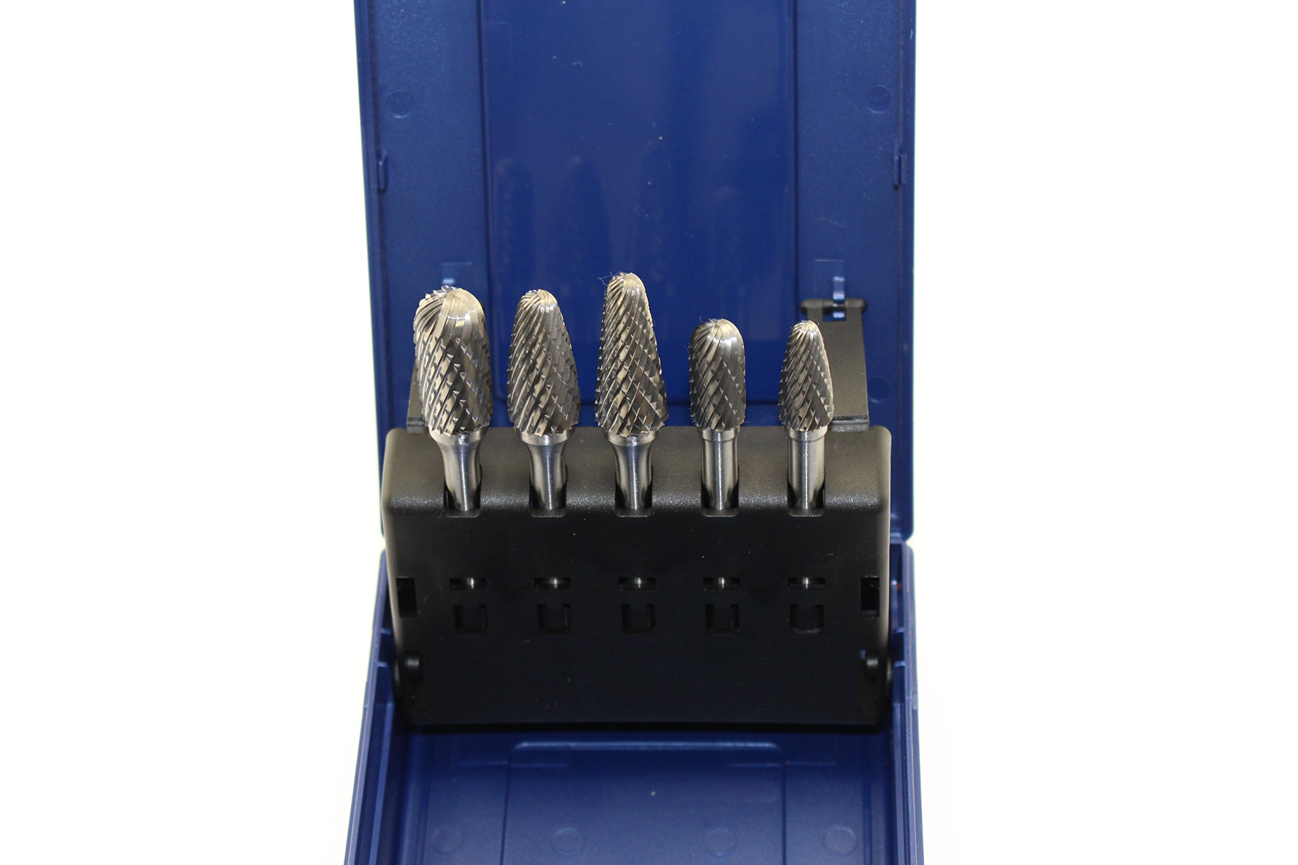 TEMO 5 pc Set Double Cut CARBIDE ROTARY BURR FILE TOOL, 1/2 inch (12.7mm) and 3/8 inch (9.5mm) Heads, 1/4 inch (6.35mm) Diameter 2 inch (50.8mm) Long Shank