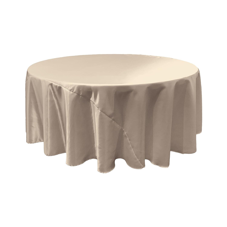 Silver TCbridal120RSilver 120-Inch LA Linen Bridal Satin Round Tablecloth