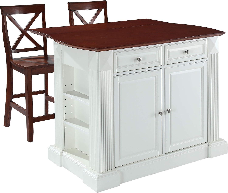 Crosley Furniture Drop Leaf Kitchen Island Breakfast Bar With 24 Inch X Back Stools White Classic Cherry Kitchen Islands Carts