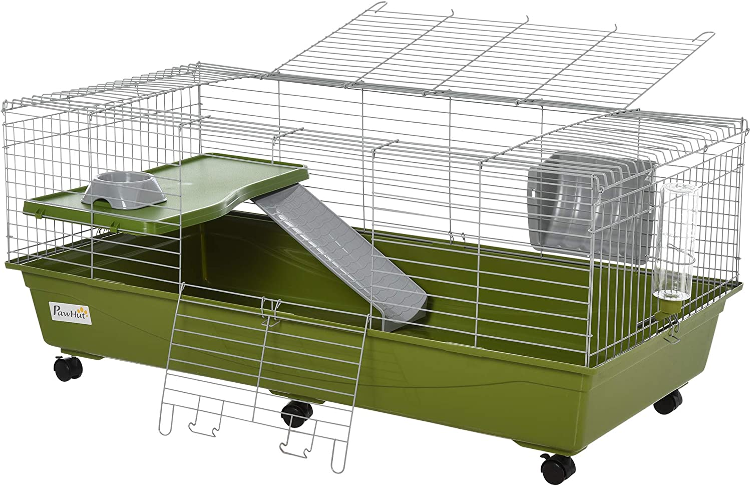 PawHut Small Animal Cage Rabbit Chinchilla Guinea Pig Hutch Pet Play House with Platform, Ramp, Food Dish, Water Bottle, Hay Feeder