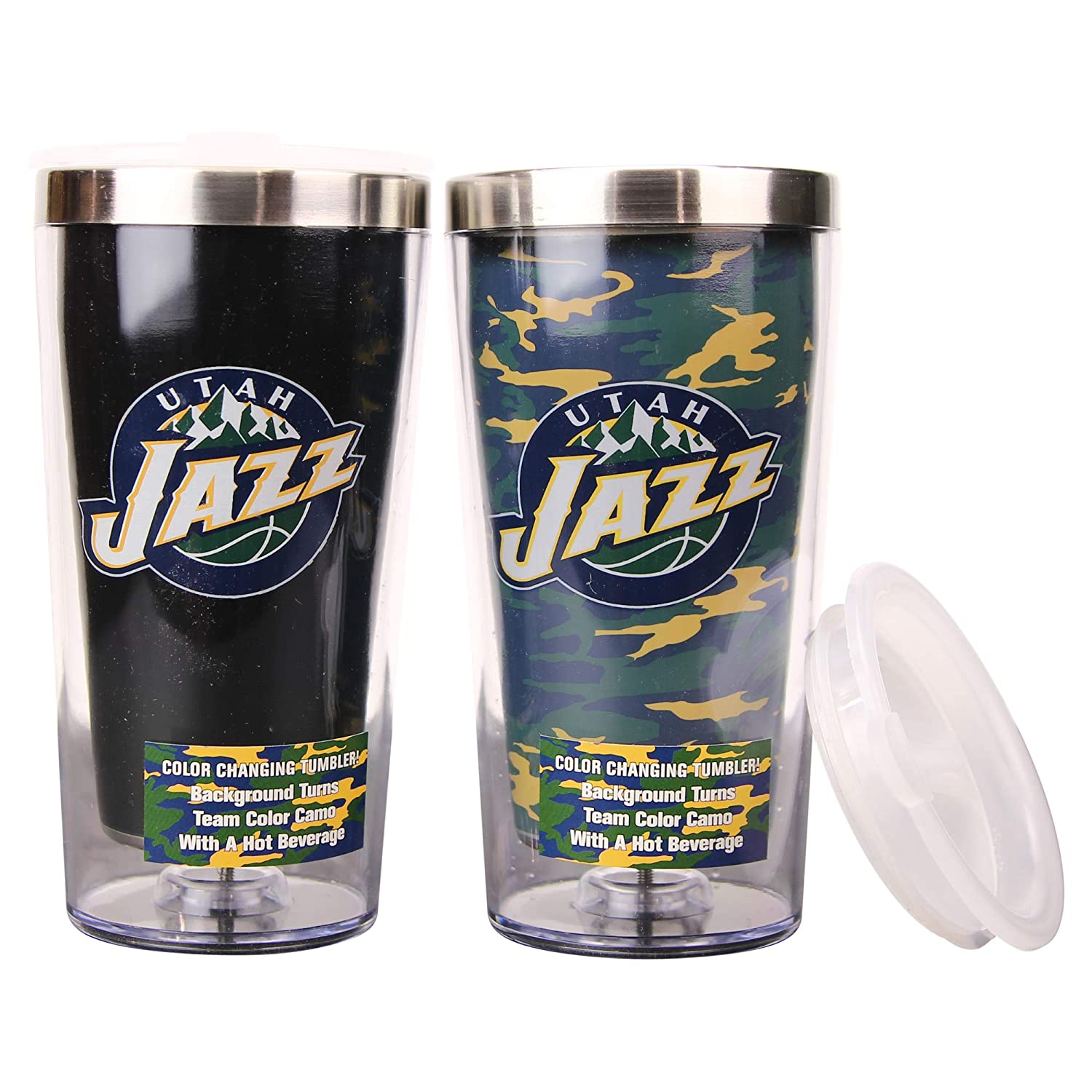 Boelter NBA 16 Ounce Color Changing Camo Travel Tumbler 2 Pack with Lids