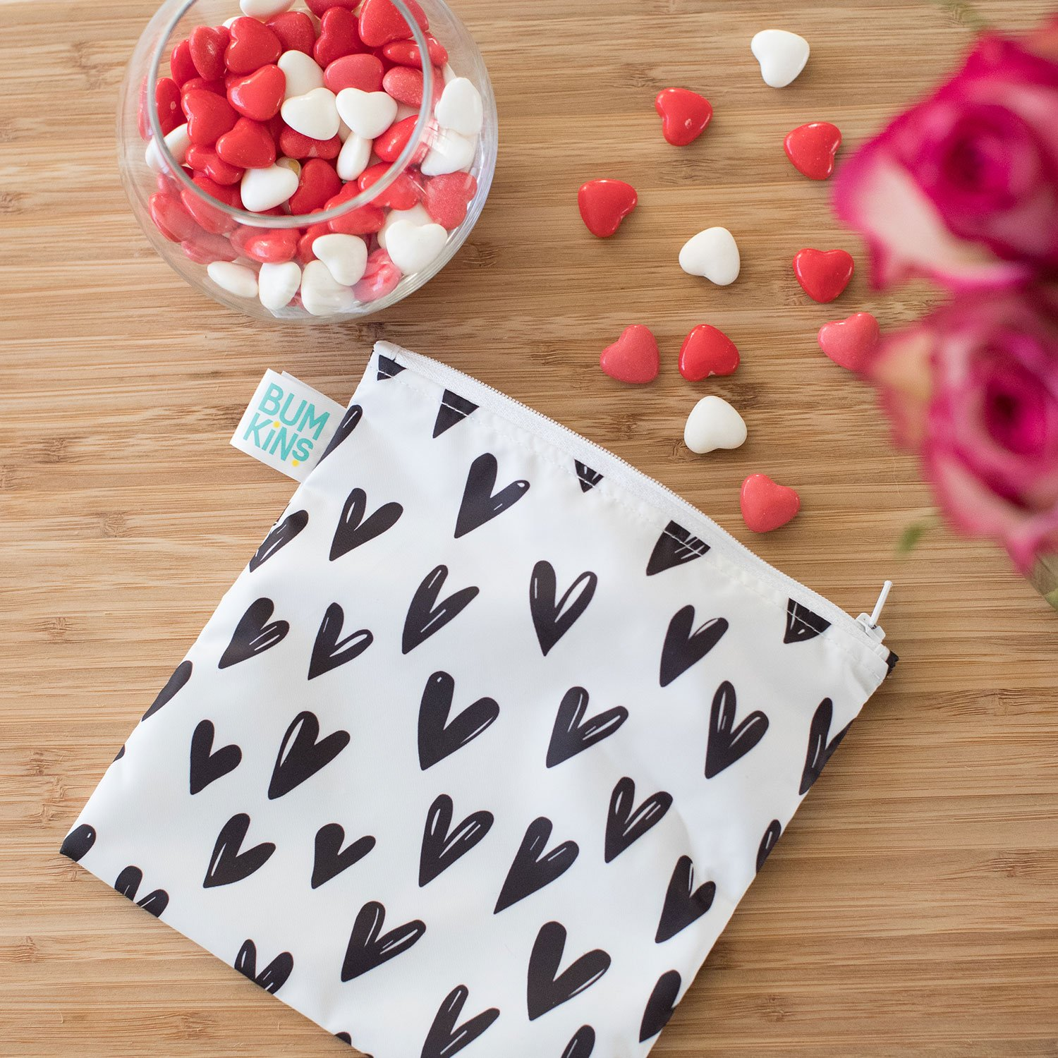 Bumkins Reusable Snack Bag, Large, Hearts SBL-10