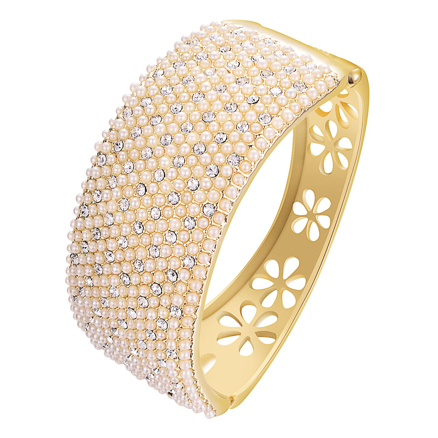 Yoursfs Freshwater Cultured Pearl Hollow Flower Fashion Jewelry Bracelet Yellow Gold Plated Classic Ladies Bangle B627R1-CA