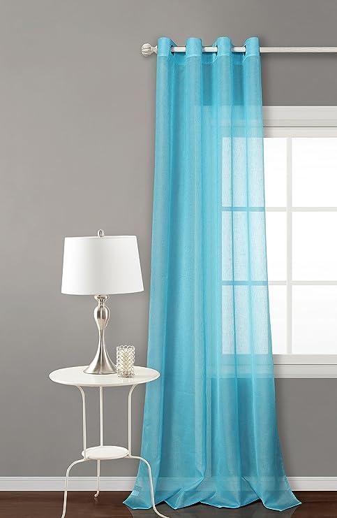 Rideau avec 8 ollao de 140 x 260 translucide pour salon, chambre et  chambre. Clara Modèle . 140_x_260_cm turquoise