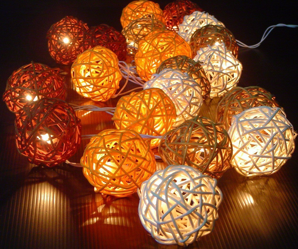 Storm Autumn Browns Rattan Cane Battery Powered Led Wooden Ball Fairy Light String 3m (9.9 Feet) Long by Thai Decorated by Thai Decorated